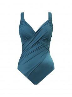 "Maillot de bain gainant Revele Bleu Canard - Les Unis - ""W"" - Miraclesuit swimwear"