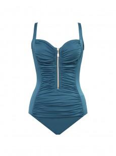 "Maillot de bain gainant Zip Code  Bleu Canard - Les Unis - ""M"" - Miraclesuit swimwear"