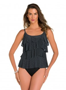 "Tiering Up Tankini Top - Pin Point - ""M"" - Miraclesuit swimwear"