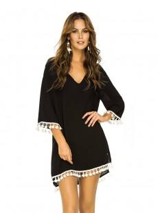 Robe à Pompoms Noir - Color Mix Beachwear - Phax
