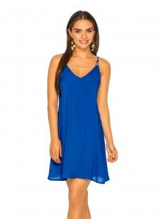 Robe Bleu électrique courte à fines bretelles - Color Mix Beachwear - Phax