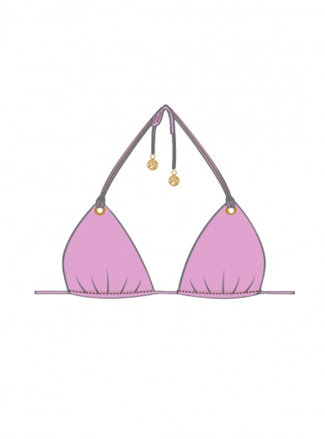 Haut de maillot de bain Triangle Bikini Rose - Mambo - Luli Fama