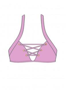 Haut de maillot de bain triangle lacé Rose - Mambo - Luli Fama