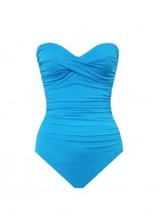 "Maillot de bain gainant Bustier Barcelona Turquoise - ""M"""