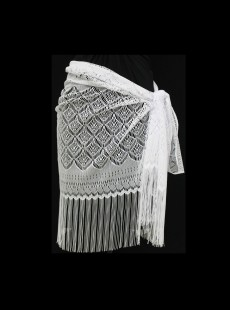 Pareo Sarong 'Crochet' Blanc