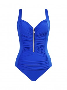 "Maillot de bain gainant Zip code Bleu - So Riche - ""W"" - Miraclesuit swimwear"