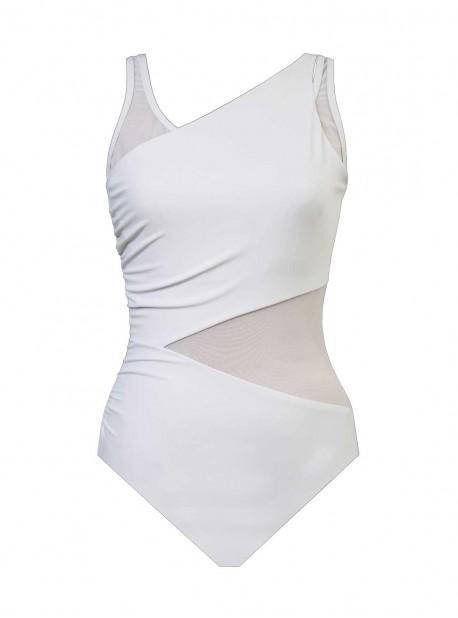 "Maillot de bain gainant Azura Blanc - Illustionists - ""M"" -Miraclesuit Swimwear"