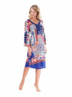 Robe mi-longue manches longues graphique Multicolore - Beach Tribe - Iconique