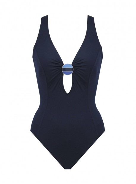 Maillot de bain lissant 1 pièce plongeant Electra Bleu Marine - Crete - Amoressa