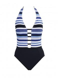 Maillot de bain lissant 1 pièce plongeant Gaea bleu et blanc - Mykonos - Amoressa