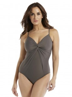 "Maillot de bain gainant Love Knot Gris - Rock Solid - ""M"" - Miraclesuit Swimwear"