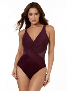 "Maillot de bain gainant Crossover Bordeaux - Illustionists - ""M"" -Miraclesuit Swimwear"