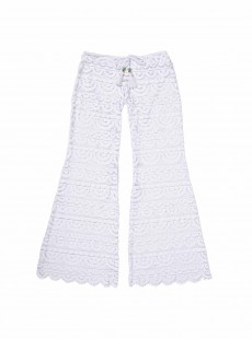 Pantalon long de plage en dentelle Must Haves Malibu Lace Blanc - PilyQ