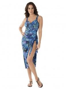 """Paréo Sarong bleu - Royal palms - """" W """" - Miraclesuit Swimwear"""