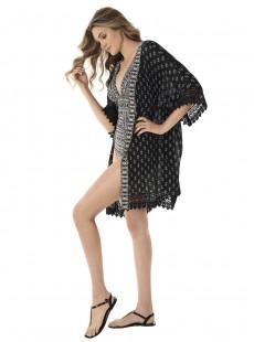 "Robe de bain Beach Wrap imprimé noir et blanc - Incan treasure - "" W "" - Miraclesuit Swimwear"