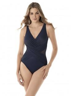 "Maillot de bain 1 pièce gainant Crossover bleu - Illusionist - "" M "" - Miraclesuit Swimwear"