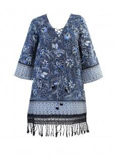 """Robe de plage Beach Coverup imprimé fleuris bleu - Provence d'azur - """"  M  """" - Miraclesuit Swimwear"""