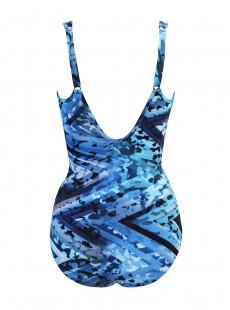 "Maillot de bain 1 pièce gainant Madero imprimé bleu - Turning Point - "" M "" - Miraclesuit Swimwear"