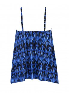 """Tankini Peephole imprimé graphique bleu / orange - Vesuvio - """" M """" - Miraclesuit Swimwear"""