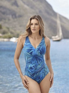 "Maillot de bain gainant Escape Bleu - Best Fronds Ever - ""M"" - Miraclesuit swimwear"