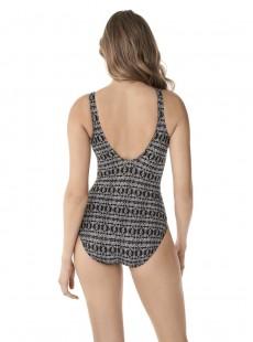 "Maillot de bain gainant Odyssey Noir et Blanc - Incan Treasure - ""M"" - Miraclesuit swimwear"