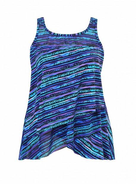 "Mirage Tankini Top Bleu - Secret Sanskrit - ""M"" - Miraclesuit swimwear"