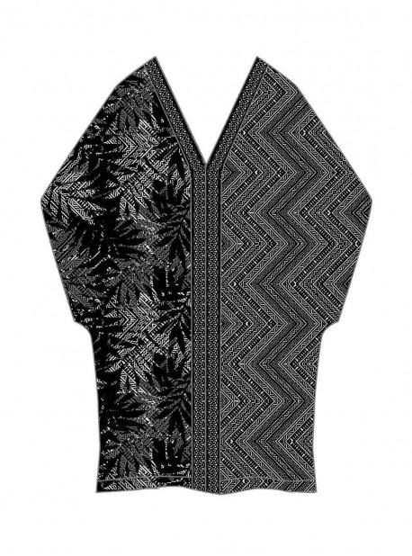 """Caftan Noir et Blanc - Tulum Treasures - """"M"""" - Miraclesuit swimwear"""