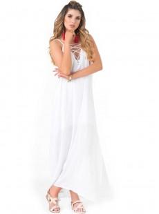 Robe blanche longue fines bretelles - Beachwear