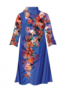 Robe chemise - Blue Flowers - Miradonna