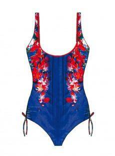 Maillot de bain sculptant 1 pièce - Blue Flowers Diana Laces