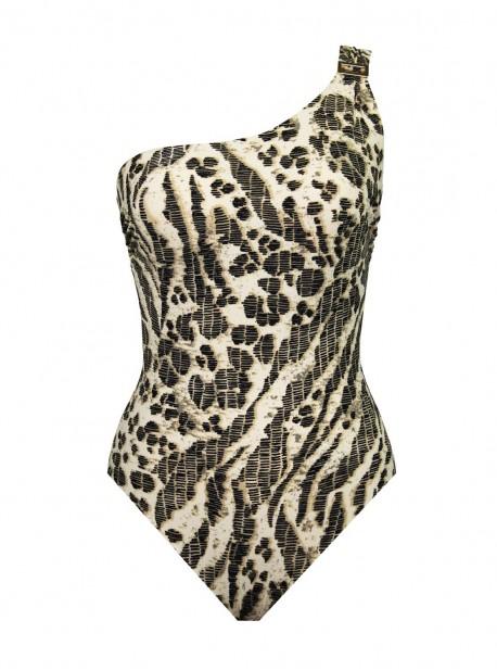Maillot de bain lissant 1 pièce asymétrique Gemini Imprimés leopard - Sierra Leone - Amoressa