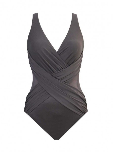 """Maillot de bain gainant Crossover Gris - Illusionists - """"M"""" - Miraclesuit swimwear"""