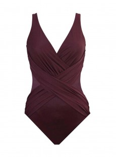 "Maillot de bain gainant Crossover Bordeaux - Illustionists - ""W"" -Miraclesuit Swimwear"