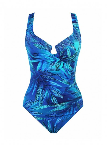 """Maillot de bain gainant Escape Bleu - Best Fronds Ever - """"M"""" - Miraclesuit swimwear"""