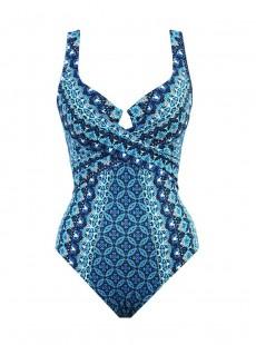 """Maillot de bain 1 pièce gainant Criss Cross Escape imprimé graphique bleu - Mosaica - """" M """" - Miraclesuit Swimwear"""