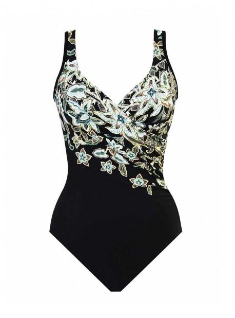 """Maillot de bain gainant It's a Wrap Noir et Blanc - Cloisonné - """"M"""" - Miraclesuit swimwear"""