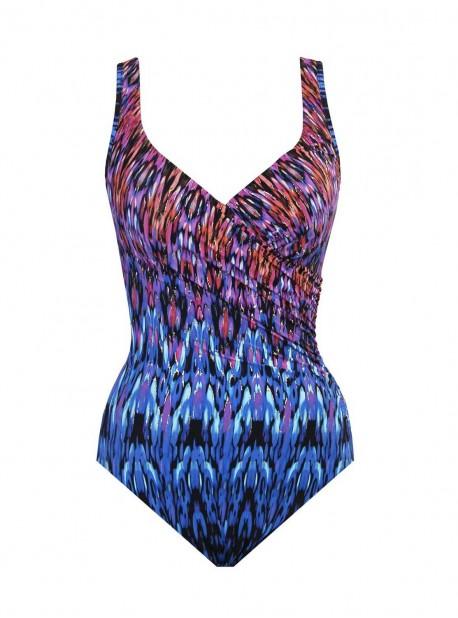 """Maillot de bain 1 pièce gainant It's A Wrap orange / bleu - Vesuvio - """" M """" - Miraclesuit Swimwear"""