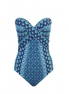 """Maillot de bain 1 pièce gainant Seville imprimé bleu - Mosaica - """" M """" - Miraclesuit Swimwear"""