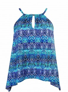 "Peephole Tankini Top Bleu - Blue Curacao - ""FC"" - Miraclesuit Swimwear"