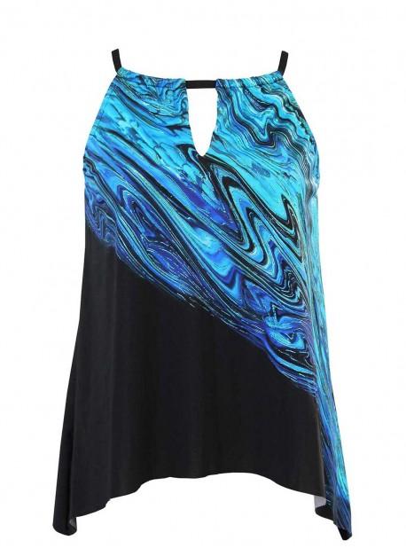 "Tankini Peephole - Blue Pointe -""M"" - Miraclesuit Swimwear"