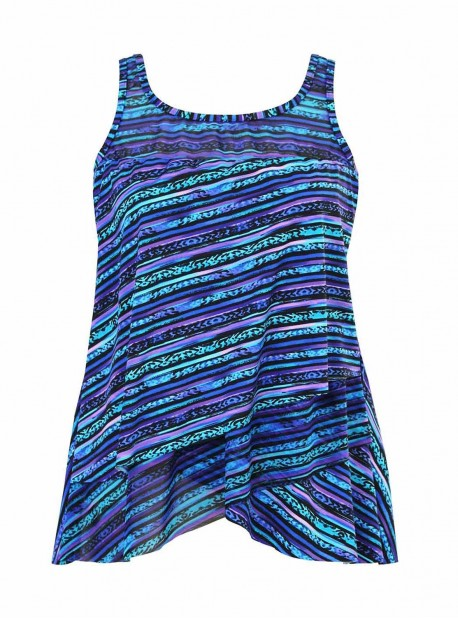 "Mirage Tankini Top Bleu - Secret Sanskrit - ""W"" - Miraclesuit swimwear"