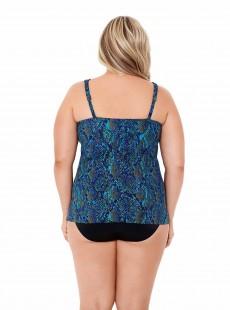 "Tankini Plunge Multicolor - Basilisk- ""M"" - Miraclesuit Swimwear"