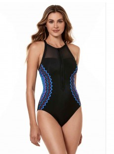 "Maillot de bain gainant Zipline - True colors - ""M"" -Miraclesuit Swimwear1"
