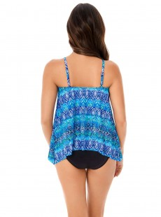 "Peephole Tankini Top Bleu - Blue Curacao - ""M"" - Miraclesuit swimwear"