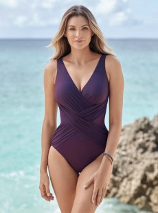 """Maillot de bain gainant Crossover Violet - Illustionists - """"M"""" -Miraclesuit Swimwear"""