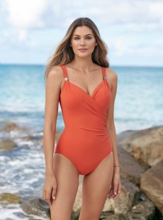 """Maillot de bain gainant Siren Orange - Razzle Dazzle - """"M"""" - Miraclesuit swimwear"""