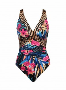 "Maillot de bain gainant Double Cross Multicolore - Tropica - ""M"" - Miraclesuit swimwear"