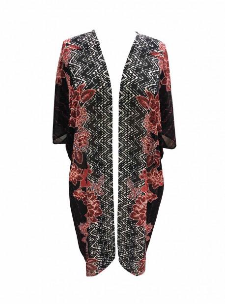 """Robe de bain Beach Wrap Noir/Imprimés à fleurs - Mendhika - """" M """" - Miraclesuit Swimwear"""