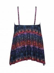 """Tankini Peephole Imprimés graphiques multicolores - Tramonto Belle - """" M """" - Miraclesuit Swimwear"""