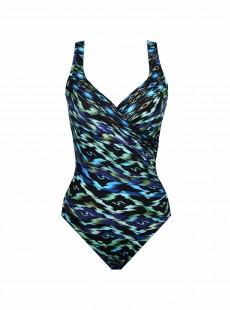 "Maillot de bain gainant It's a Wrap Imprimés graphiques Bleu Vert - Jewels Of The Nile - ""M"" - Miraclesuit swimwear"